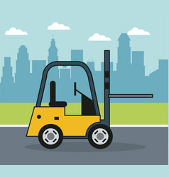 colorful background with forklift on the outskirts vector image