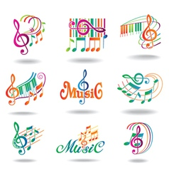 colorful music notes set of music design elements vector image
