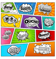 comic book page with black and white speech bubble vector image