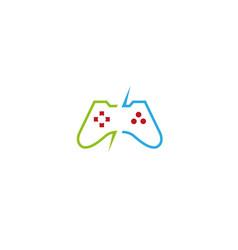 Console video games controller gadget logo vector