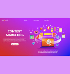 content marketing landing page abstract vector image