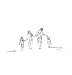 continuous line happy family walking holding the vector image