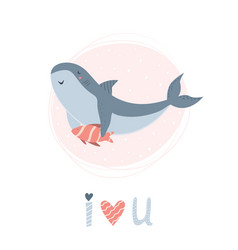 cute smiling shark with friend in childish style vector image