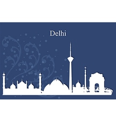 Delhi city skyline on blue background vector image