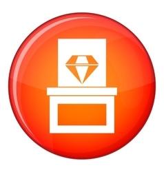 Diamond in box icon flat style vector