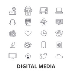Digital media marketing social life technology vector