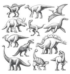 Dinosaur grafic hand drawn set vector
