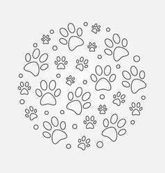 Dog footprints round outline vector