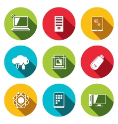 exchange of information technology flat icons set vector image
