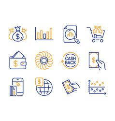 Fan engine world money and cashback icons set vector