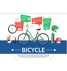 flat bicycle elements composition vector image