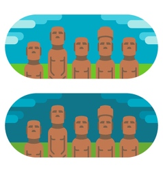 Flat design moai easter vector