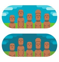 Flat design moai easter vector image