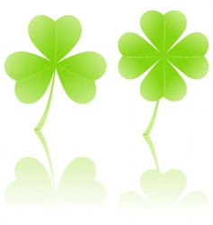 Four-leaf clover and shamrock vector