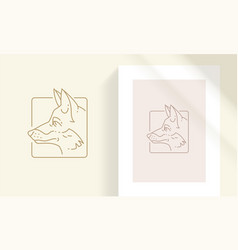 fox head in square frame silhouette linear vector image