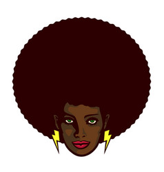 Funky black woman face with afro hairstyle vector