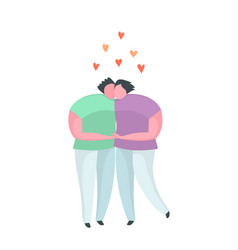Gay couple hugging kissing flat icon or emblem vector