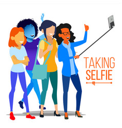 girls taking selfie photo portrait concept vector image
