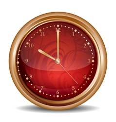 Glossy red clock icon vector image
