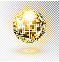 golden disco ball isolated vector image