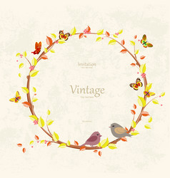 graceful autumn wreath and birds on grunge vector image