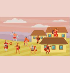 Group gladiators warriors fighters in armor vector