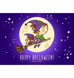 Halloween card with funny witch and her cat vector