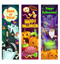 Halloween pumpkins ghosts mummy and wizard vector