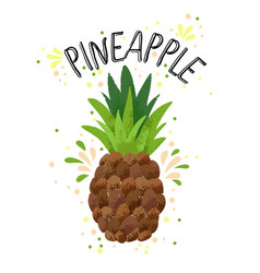 hand draw pineapple yellow vector image