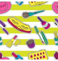 Hand drawn fashion cosmetics pattern Beauty and vector image