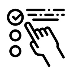 Hand touch check list approved mark icon vector