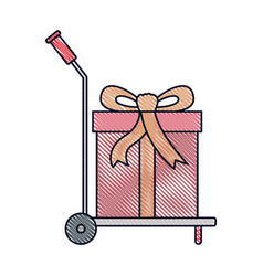 Hand truck with big gift box in colored crayon vector
