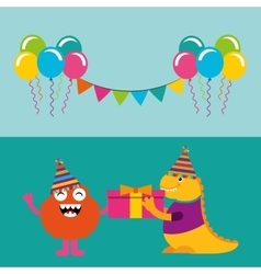 Happy birthday celebration card with monster vector