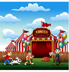 happy children playing at the amusement vector image