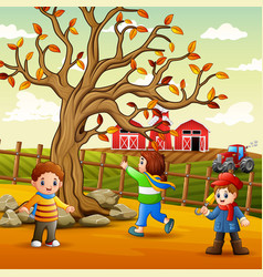 happy kids playing inside fence vector image