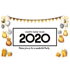 Happy new year 2020 black number with ribbon vector