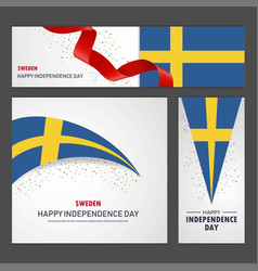Happy sweden independence day banner and vector