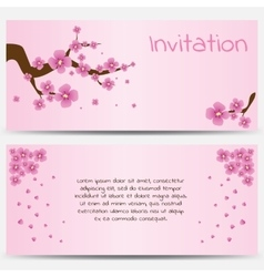 Invitation Design Template Blooming Sakura on Pink vector