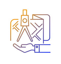 Land owning gradient linear icon vector