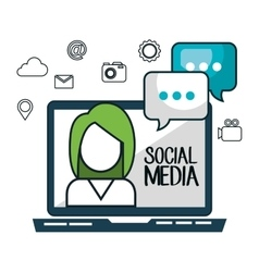 laptop avatar social media design isolated vector image