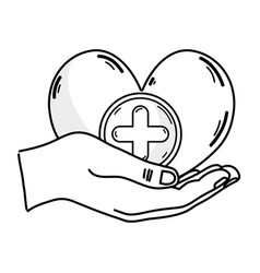 Line hands with heart medicine symbol to help the vector