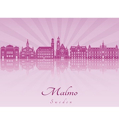 Malmo skyline in purple radiant orchid vector image