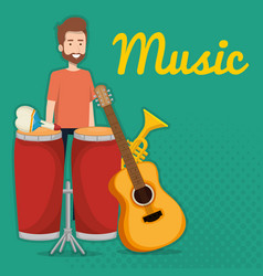 man playing bongo drum tropical instrument vector image