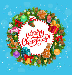 merry christmas greeting xmas tree wreath vector image
