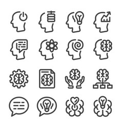 Mind and brain line icon set vector