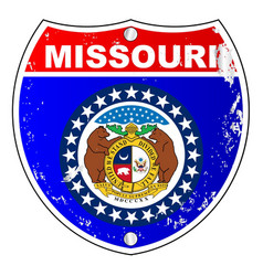 Missouri flag icons as interstate sign vector