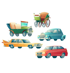 Modern and retro cars cartoon collection vector