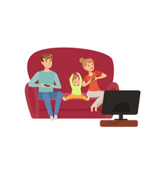 Mom dad and their little son sitting on the sofa vector