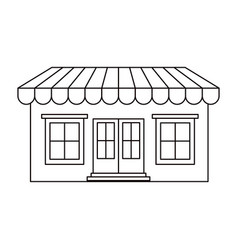 Monochrome silhouette of store with awning vector