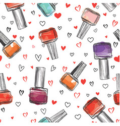 nail polish bottle seamless pattern beauty salon vector image